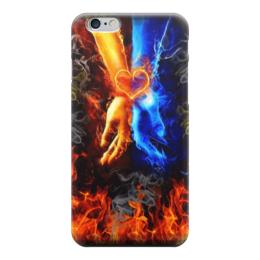 """Чехол для iPhone 6 """"Любовь арт"""" - сердце, любовь, рука, огонь, пламя"""