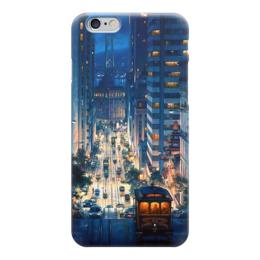 """Чехол для iPhone 6 глянцевый """"Городской пейзаж"""" - город, пейзаж, машины, арт, красота"""