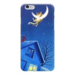 """Чехол для iPhone 6 """"Кот и Месяц"""" - кот, животные, ночь, луна, месяц"""