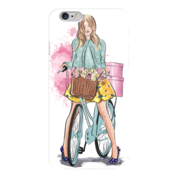 """Чехол для iPhone 6 глянцевый """"Весенняя прогулка"""" - весна, девушка, мода, люди, велосипеды"""