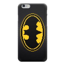 """Чехол для iPhone 6 глянцевый """"Бэтмен (Batman)"""" - batman, 8-бит, 8-bit, бэтмен, пиксель арт"""