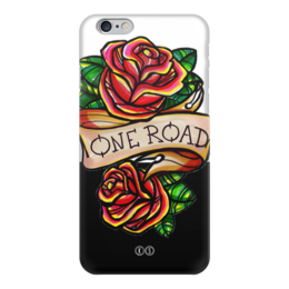 """Чехол для iPhone 6 глянцевый """"One road """" - цветы, олд скул, розы, tm kiseleva, одна дорога, tattoo, тату, roses"""