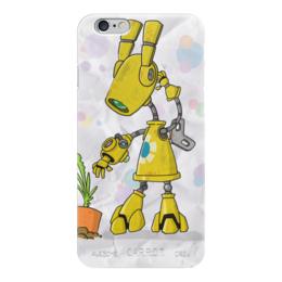 "Чехол для iPhone 6 глянцевый ""Yellow"" - робот, мимими"