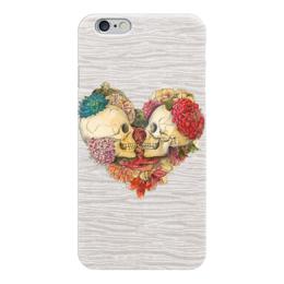 """Чехол для iPhone 6 глянцевый """"Skull Art"""" - skull, череп, сердце, heart, цветы"""