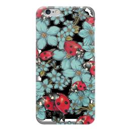 "Чехол для iPhone 6 ""Божьи коровки"" - цветы, паттерн, божья коровка, незабудки, маркеры"