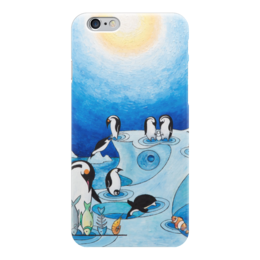 "Чехол для iPhone 6 ""Lollypups #11 (the pinguins) "" - арт, синий, пингвин, positive"