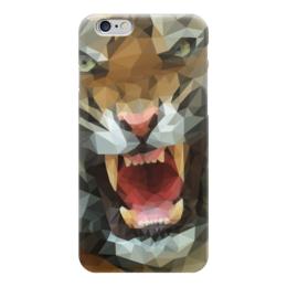 "Чехол для iPhone 6 ""Polygon tiger"" - хищник, тигр, оскал"