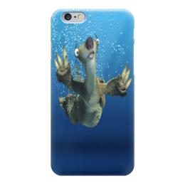 """Чехол для iPhone 6 глянцевый """"Ледниковый период (Сид под водой)"""" - ice age, ленивец, сид, ледниковый период, мультфильм"""