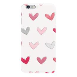 """Чехол для iPhone 6 """"разноцветные сердечки"""" - love, розовый, сердечки, hearts"""