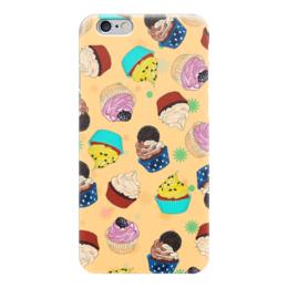 """Чехол для iPhone 6 """"Капкейки на желтом фоне"""" - еда, желтый, вкусно, кексы, капкейки"""
