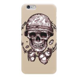 "Чехол для iPhone 6 глянцевый ""Skull Art"" - skull, grenade, череп, гранаты, колючая проволока"