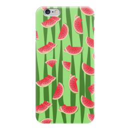 """Чехол для iPhone 6 """"Арбуз"""" - полоска, красный, ягода, зеленый, семена"""