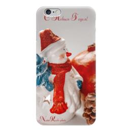 """Чехол для iPhone 6 глянцевый """"Снеговик"""" - снеговик, шишка, елка, новыйгод, празник"""