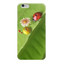 """Чехол для iPhone 6 """"божья коровка"""" - любовь, смайлик, природа, цветочек, божья коровка"""