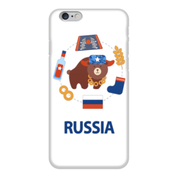 """Чехол для iPhone 6 """"Россия (Russia)"""" - медведь, россия, водка, ушанка, валенок"""