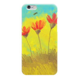 """Чехол для iPhone 6 """"Пчела в маках """" - цветы, маки, масло, живопись, пчела"""