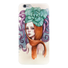 """Чехол для iPhone 6 глянцевый """"Медуза"""" - арт, девушка, море, осьминог, рыжая"""