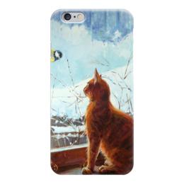"""Чехол для iPhone 6 глянцевый """"Хватит сидеть дома"""" - кот, cat, рыжий кот"""