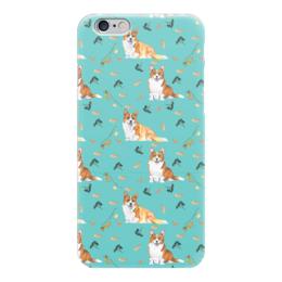"""Чехол для iPhone 6 глянцевый """"Зимняя прогулка"""" - собака, желтый, рыжая, корги, вельшкорги"""
