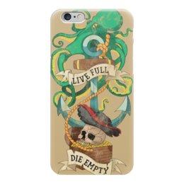"""Чехол для iPhone 6 глянцевый """"Осьминог"""" - татуировка, якорь, old school, пират, череп"""