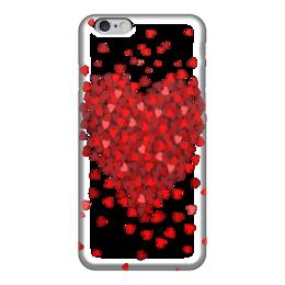 """Чехол для iPhone 6 глянцевый """"hearts"""" - сердце, red, heart, love, любовь"""