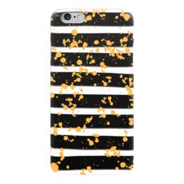 """Чехол для iPhone 6 """"Желтые брызги"""" - черно-белый, желтый, абстракция, полосатый, полоски"""