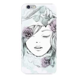 "Чехол для iPhone 6 глянцевый ""Красивая девушка с цветами"" - арт"