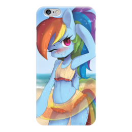 "Чехол для iPhone 6 ""Рейнбоу на пляже"" - арт, радуга, пони, фанарт, юкошоп"