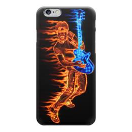 """Чехол для iPhone 6 """"Рок Гитарист"""" - гитара, огонь, пламя, рок музыка, гитарист"""