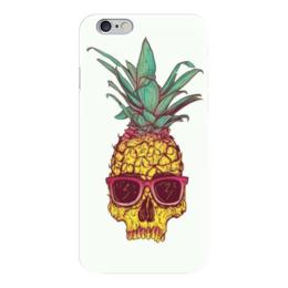 """Чехол для iPhone 6 """"Крутой ананас"""" - череп, фрукты, очки"""