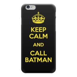 "Чехол для iPhone 6 глянцевый ""Keep Calm and call Batman"" - бэтмен, комиксы, batman, dc comics"