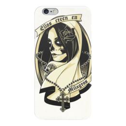 """Чехол для iPhone 6 """"Santa Muerte """" - skull, череп, девушка, смерть, санта муерте"""