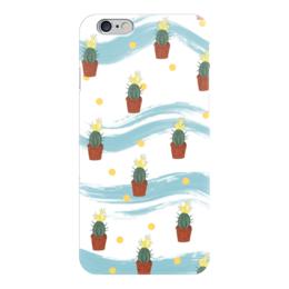 """Чехол для iPhone 6 глянцевый """"Кактусы"""" - цветы, кактусы, растения, узоры"""