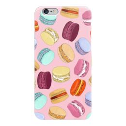 """Чехол для iPhone 6 глянцевый """"Пирожные """"Макарон"""" на розовом фоне"""" - еда, пирожные, печенье, вкусно, розовый"""
