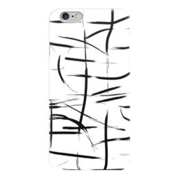 """Чехол для iPhone 6 глянцевый """"Штрих"""" - черный, черно-белый, минимализм, абстракция"""