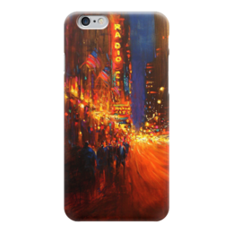 """Чехол для iPhone 6 """"Мегаполис"""" - город, ночь, реклама, свет, пешеходы"""