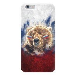 "Чехол для iPhone 6 глянцевый ""Русский Медведь"" - флаг, триколор, россия, футбол, медведь"