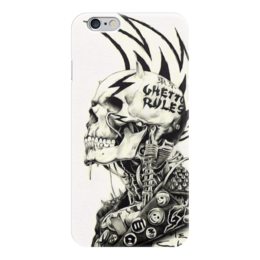 "Чехол для iPhone 6 ""Punks not Dead"" - skull, череп, черепа, стиль, скелет, tattoo, punk, панк, татуировка, ирокез"