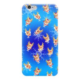 """Чехол для iPhone 6 глянцевый """"Рождественские олени"""" - новый год, праздник, рождество, снежинки, олени"""