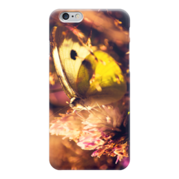 "Чехол для iPhone 6 глянцевый ""бабочка на цветке"" - бабочки, природа, цветочек"