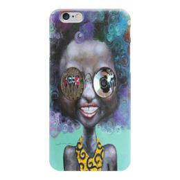 """Чехол для iPhone 6 глянцевый """"арт-девушка в очках """" - девушка в очках, яркая, арт, необычно, рисунок"""