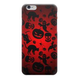 """Чехол для iPhone 6 """"Хэллоуин"""" - череп, кот, тыква, паук"""