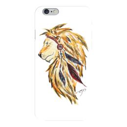 """Чехол для iPhone 6 глянцевый """"Лев индеец """" - лев, индеец, перья, рисунок"""