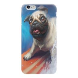 "Чехол для iPhone 6 ""Мопс и Сёрфинг"" - pug, собаки, мопс, surfing, сёрфинг"