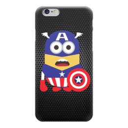 "Чехол для iPhone 6 глянцевый ""Капитан Америка (Миньон)"" - пародия, captain america, minion, капитан америка"