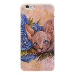 """Чехол для iPhone 6 """"Синий Сфинкс """" - кот, цветы, рисунок, розы, сфинкс"""