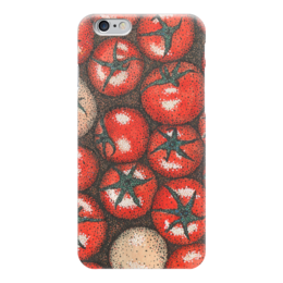 "Чехол для iPhone 6 ""Точкотоматы"" - помидор, томат, рисунок, паттерн, овощи"