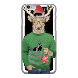 """Чехол для iPhone 6 глянцевый """"Олень новогодний в свитере и очках с шариком"""" - новый год, олень"""