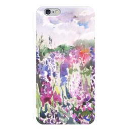 "Чехол для iPhone 6 ""Lupines field"" - лето, сиреневый, акварель, watercolor, люпин"