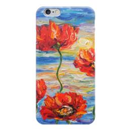 """Чехол для iPhone 6 """"Отблески заката"""" - red, солнце, море, красота, flowers, маки, poppy"""